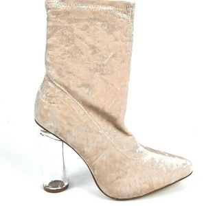 Shoes - Nude Clear Chunky Heel Bootie